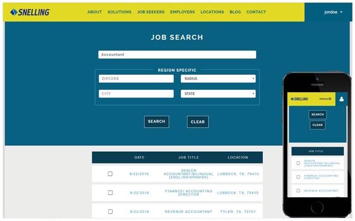 Snelling Staffing Job Search angularjs
